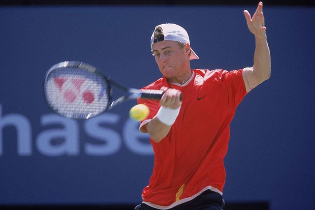 Lleyton Hewitt in action during the men's final at the 2001 US Open.